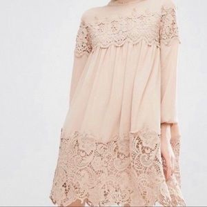 ASOS Fashion Union Lace Detailed Long Sleeve Dress